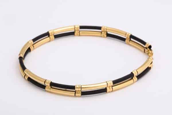 double strand vintage horsehair 9k gold bracelet
