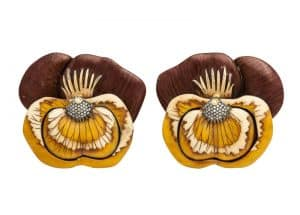 Sylvia Furmanovich wood pansy earrings