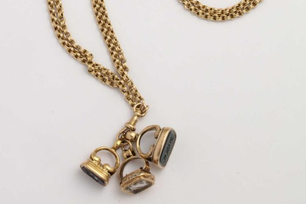 antique fob chain necklace with intaglios