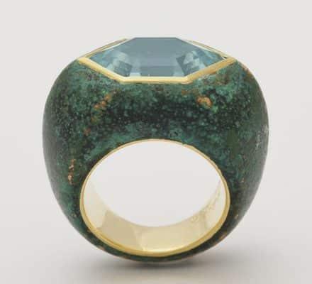patinated bronze aquamarine and 18k ring
