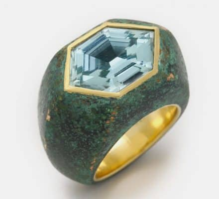 patinated bronze aquamarine and 18k ring