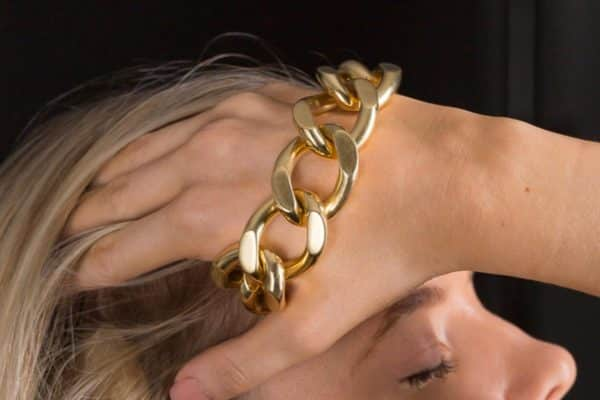 18k big bold curb link bracelets
