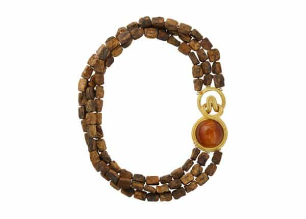 hammered bronzite walling necklace