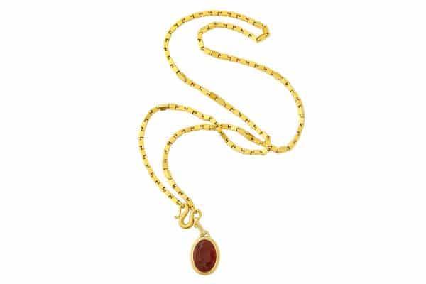 heavy italian 22k link necklace with intaglio pendant
