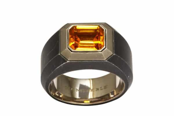 hemmerle citrine and steel ring
