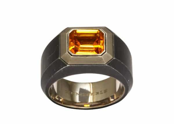 hemmerle citrine and steel ring