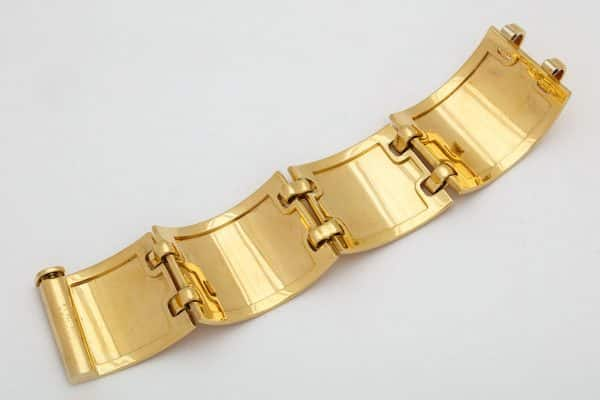 "hermes 18k gold ""lattice"" wide cuff"