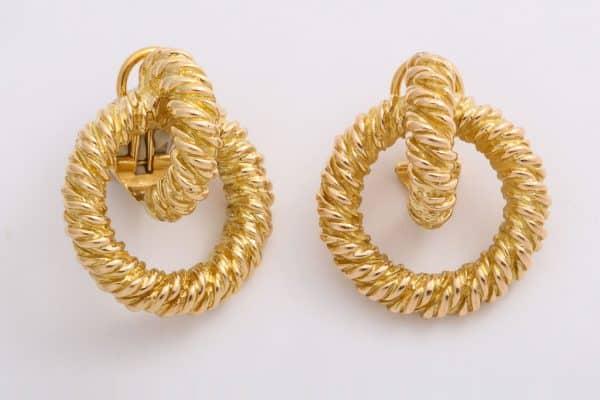 hermes eighteen carat gold doorknocker earrings