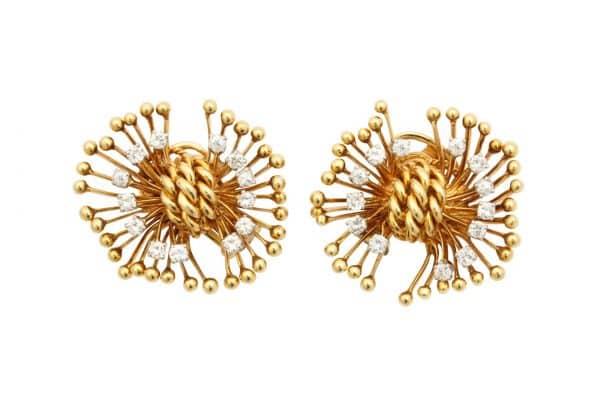 retro 18k and diamond constellation earrings
