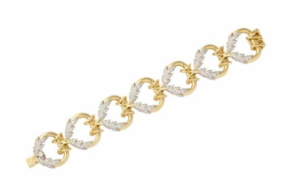 "schlumberger diamond and gold ""leaf"" bracelet"