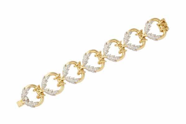 "schlumberger diamond and gold ""leaf"" bracelet"