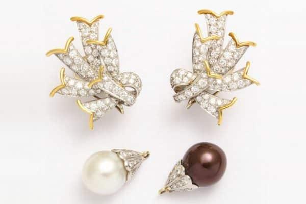schlumberger diamond platinum pearl-earrings