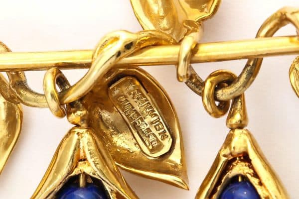 """schlumberger lapis and gold """"pea pod"""" brooch"""