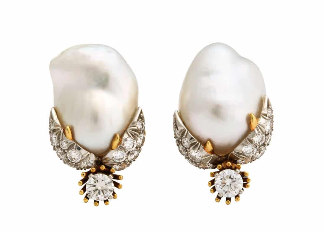 schlumberger peggy rockefeller pearl and diamond earrings