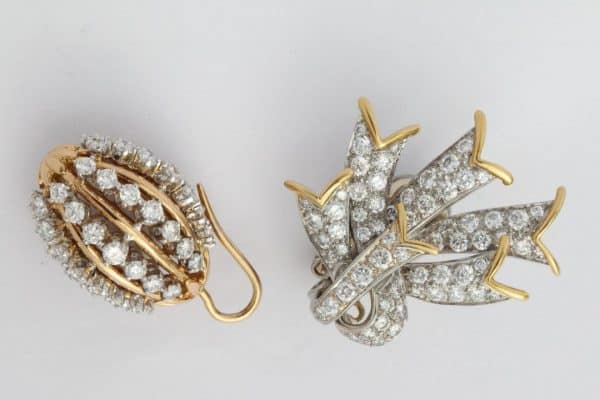 "schlumberger ""ribbon"" diamond and gold earrings"