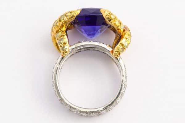 schlumberger tanzanite, diamond & gold ring