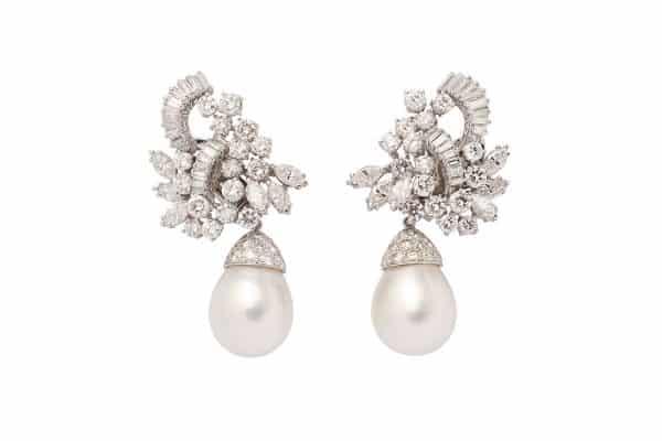 south sea cultured pearl and diamond ear clips