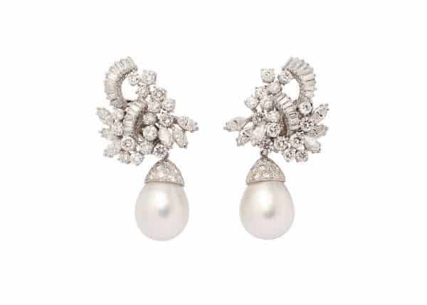 south sea cultured pearl and diamond ear clips