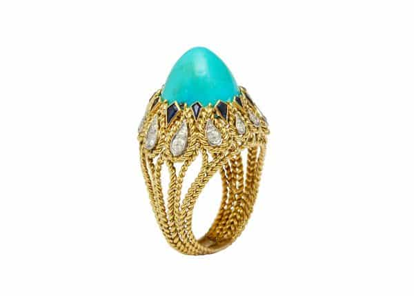 vintage sterle turquoise, diamond and sapphire cocktail ring