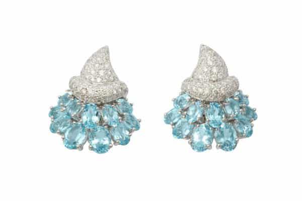 verdura aquamarine and diamond cornucopia earrings