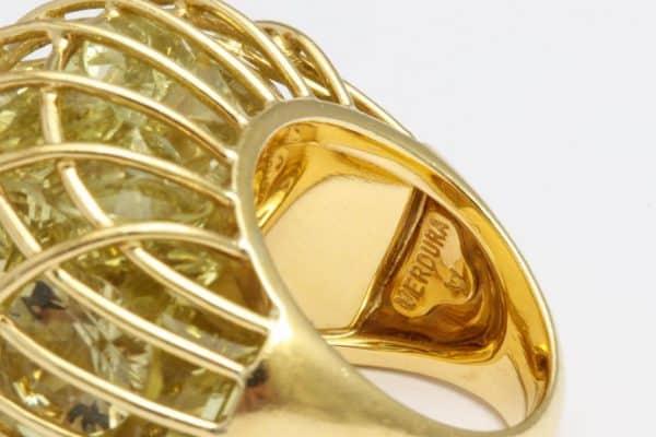 "verdura citrine and eighteen carat gold ""caged"" ring"