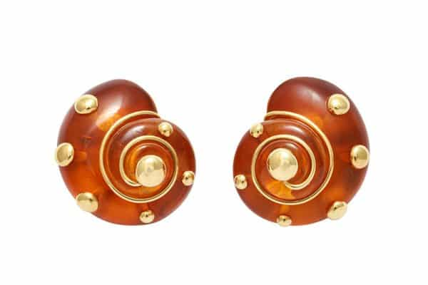 verdura gold and amber shell ear clips