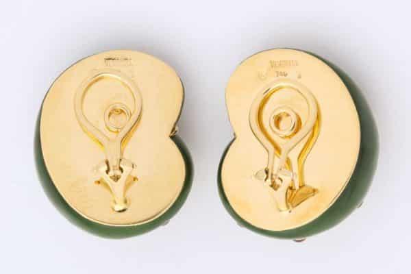 """verdura nephrite, jade, ruby spiral """"shell"""" earrings"""