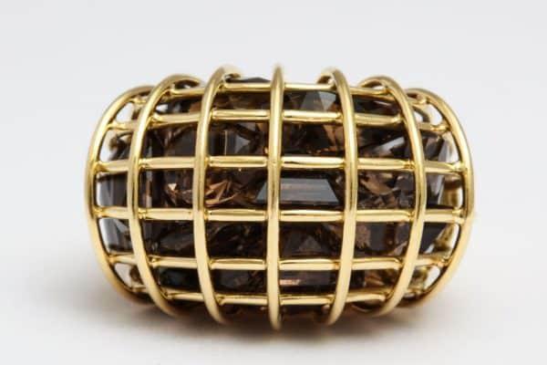 "verdura smokey quartz and eighteen carat gold ""caged"" ring"