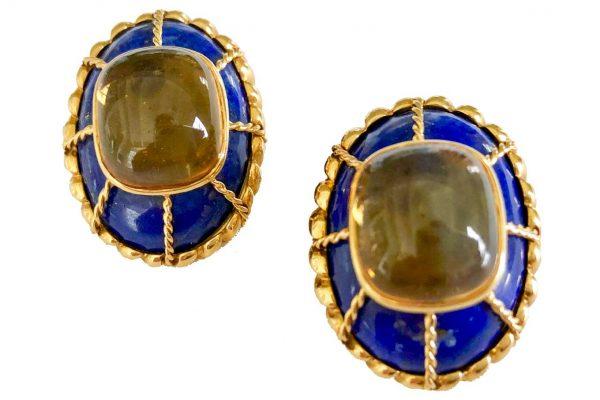 tony duquette lapis citrine earrings