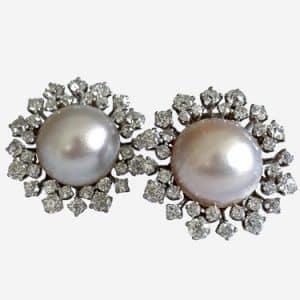 van cleef mabe pearl and diamond earrings