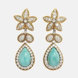 david webb turquoise diamond earrings