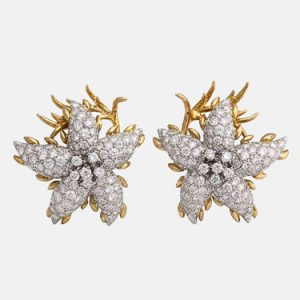 """starfish"" design diamond and gold earrings"
