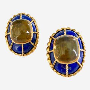 tony duquette lapis + citrine earrings