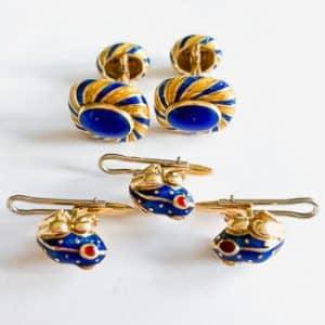 david webb blue enamel stud set and cufflinks