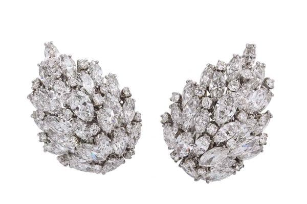 van cleef and arpels diamond leaf earrings