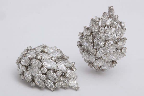 van cleef and arpels diamond leaf earrings