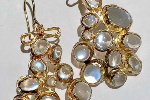 Judy Geib 18 k gold and opal geometric earrings
