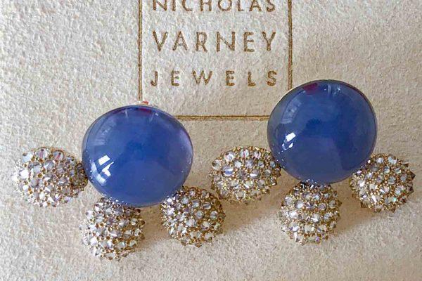 nicholas varney chalcedony and diamond earrings