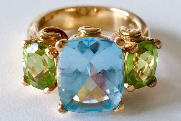 Temple St. Clair 18k , peridot and topaz three stone ring