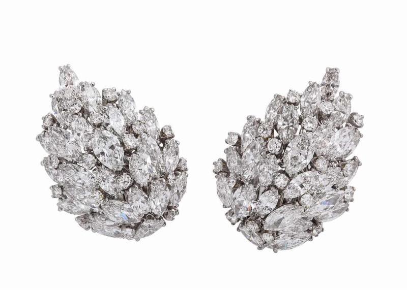 van cleef and arpels 1940s diamond leaf earrings