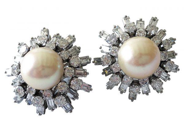 pierre sterle diamond and pearl earrings