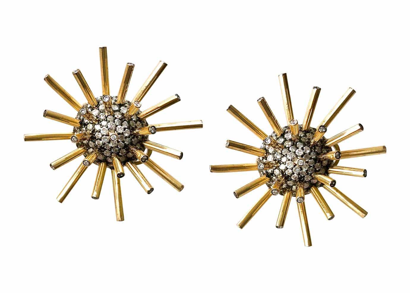 sputnik gold and diamond earrings