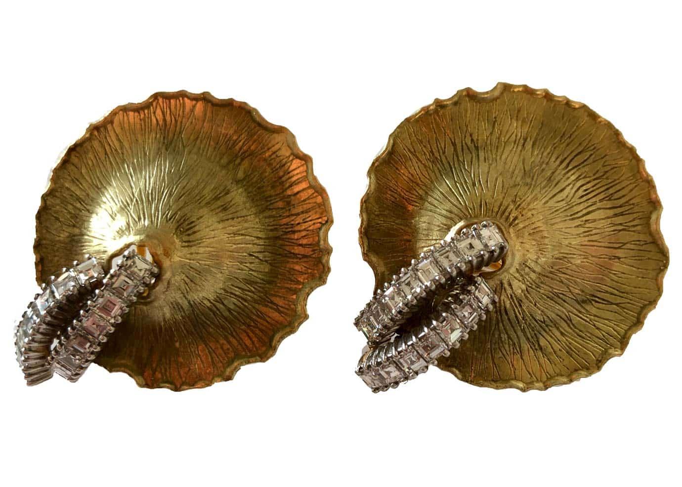 gold and diamond gingko leaf earrings