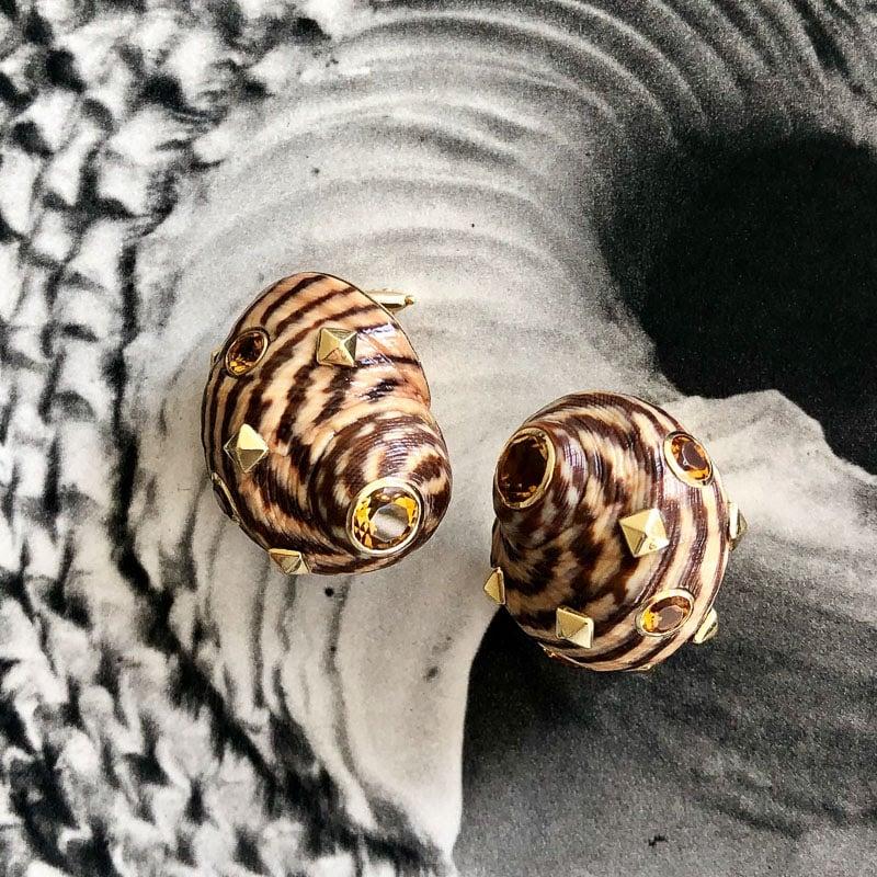 trianon earth toned shell earrings