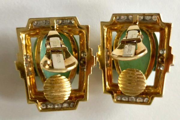 webb turquoise diamond gold ear clips