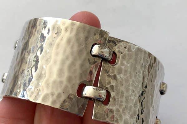 hermès hammered sterling cuff