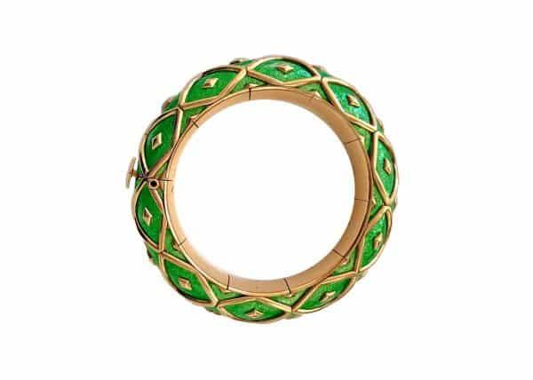 schlumberger green enamel paillone bangle