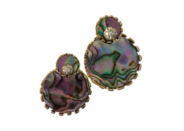 varney 18kt gold, abalone shell and diamond sawtooth earclip
