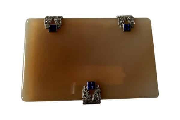 agate box with lapis diamond and sapphire clasps