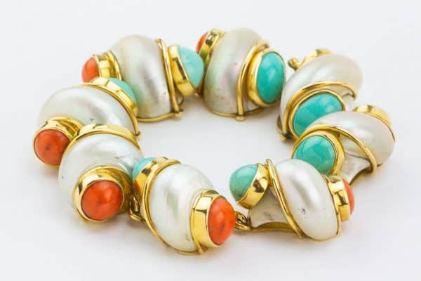 seaman schepps turquoise and coral bracelet